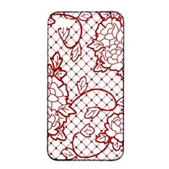 Transparent Decorative Lace With Roses Apple Iphone 4/4s Seamless Case (black)