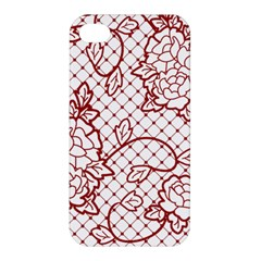 Transparent Decorative Lace With Roses Apple Iphone 4/4s Premium Hardshell Case
