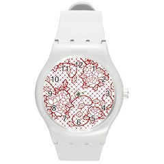 Transparent Decorative Lace With Roses Round Plastic Sport Watch (m) by Nexatart