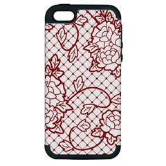 Transparent Decorative Lace With Roses Apple Iphone 5 Hardshell Case (pc+silicone) by Nexatart