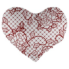 Transparent Decorative Lace With Roses Large 19  Premium Heart Shape Cushions by Nexatart