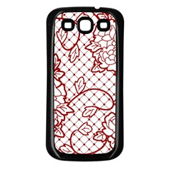 Transparent Decorative Lace With Roses Samsung Galaxy S3 Back Case (black)