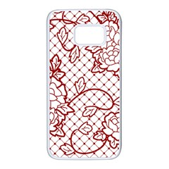 Transparent Decorative Lace With Roses Samsung Galaxy S7 White Seamless Case