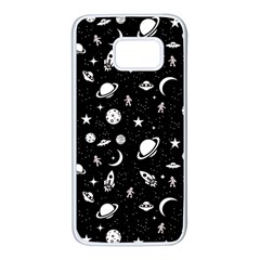 Space Pattern Samsung Galaxy S7 White Seamless Case by ValentinaDesign