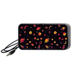 Space Pattern Portable Speaker (black) by ValentinaDesign
