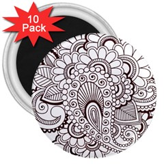 Henna Line Art Clipart 3  Magnets (10 Pack)