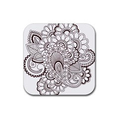 Henna Line Art Clipart Rubber Coaster (square)  by Nexatart