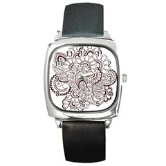 Henna Line Art Clipart Square Metal Watch by Nexatart