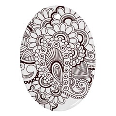 Henna Line Art Clipart Oval Ornament (two Sides)