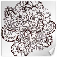 Henna Line Art Clipart Canvas 12  X 12   by Nexatart