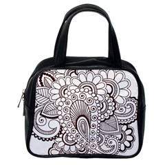 Henna Line Art Clipart Classic Handbags (one Side)