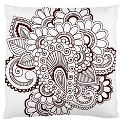 Henna Line Art Clipart Large Flano Cushion Case (two Sides)