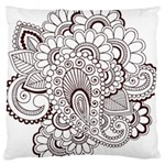 Henna Line Art Clipart Large Flano Cushion Case (Two Sides) Front