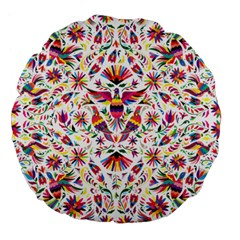 Otomi Vector Patterns On Behance Large 18  Premium Flano Round Cushions by Nexatart