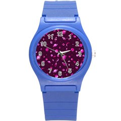Space Pattern Round Plastic Sport Watch (s) by ValentinaDesign