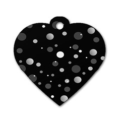 Decorative Dots Pattern Dog Tag Heart (two Sides) by ValentinaDesign