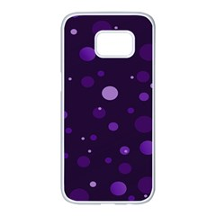 Decorative Dots Pattern Samsung Galaxy S7 Edge White Seamless Case by ValentinaDesign