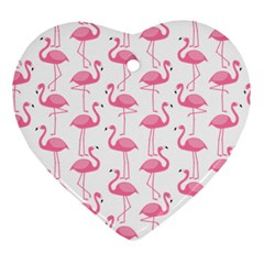 Pink Flamingos Pattern Heart Ornament (two Sides) by Nexatart