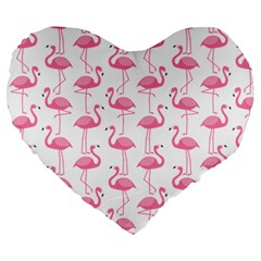 Pink Flamingos Pattern Large 19  Premium Heart Shape Cushions by Nexatart