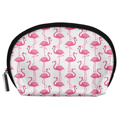 Pink Flamingos Pattern Accessory Pouches (large)  by Nexatart
