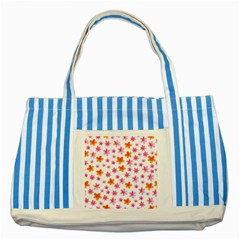 Watercolor Summer Flowers Pattern Striped Blue Tote Bag