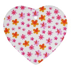 Watercolor Summer Flowers Pattern Heart Ornament (two Sides) by TastefulDesigns