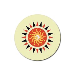 Yin Yang Sunshine Rubber Round Coaster (4 Pack)  by linceazul