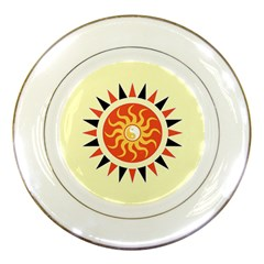 Yin Yang Sunshine Porcelain Plates by linceazul