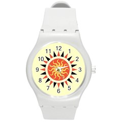 Yin Yang Sunshine Round Plastic Sport Watch (m) by linceazul