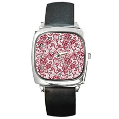 Transparent Lace With Flowers Decoration Square Metal Watch by Nexatart