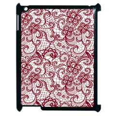 Transparent Lace With Flowers Decoration Apple Ipad 2 Case (black) by Nexatart