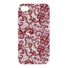 Transparent Lace With Flowers Decoration Apple Iphone 4/4s Premium Hardshell Case