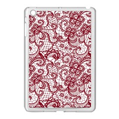 Transparent Lace With Flowers Decoration Apple Ipad Mini Case (white) by Nexatart