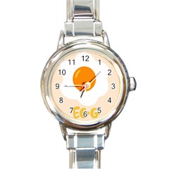 Egg Eating Chicken Omelette Food Round Italian Charm Watch by Nexatart