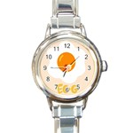 Egg Eating Chicken Omelette Food Round Italian Charm Watch Front
