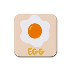 Egg Eating Chicken Omelette Food Rubber Coaster (square)  by Nexatart