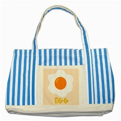 Egg Eating Chicken Omelette Food Striped Blue Tote Bag by Nexatart