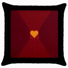Heart Red Yellow Love Card Design Throw Pillow Case (black)