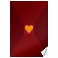 Heart Red Yellow Love Card Design Canvas 24  X 36  by Nexatart