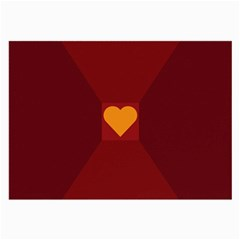 Heart Red Yellow Love Card Design Large Glasses Cloth (2 Side) by Nexatart