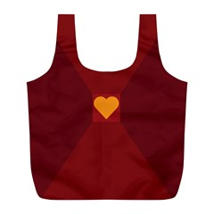 Heart Red Yellow Love Card Design Full Print Recycle Bags (l)