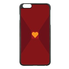 Heart Red Yellow Love Card Design Apple Iphone 6 Plus/6s Plus Black Enamel Case by Nexatart