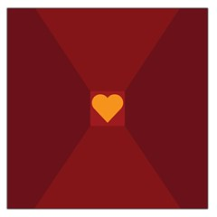 Heart Red Yellow Love Card Design Large Satin Scarf (square) by Nexatart