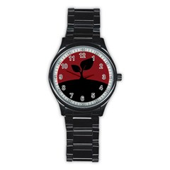 Plant Last Plant Red Nature Last Stainless Steel Round Watch by Nexatart