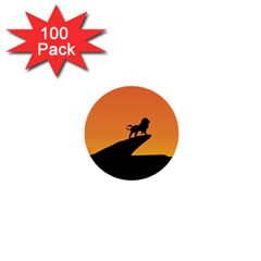 Lion Sunset Wildlife Animals King 1  Mini Buttons (100 Pack)  by Nexatart