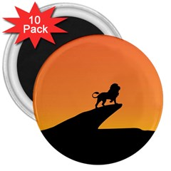 Lion Sunset Wildlife Animals King 3  Magnets (10 Pack)