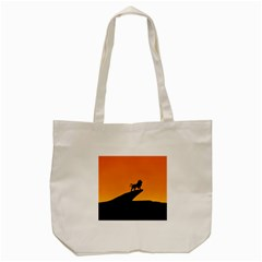 Lion Sunset Wildlife Animals King Tote Bag (cream) by Nexatart