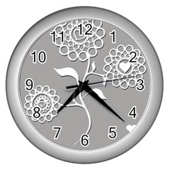 Flower Heart Plant Symbol Love Wall Clocks (silver)  by Nexatart
