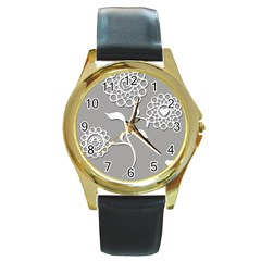 Flower Heart Plant Symbol Love Round Gold Metal Watch