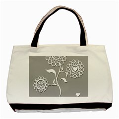 Flower Heart Plant Symbol Love Basic Tote Bag (two Sides) by Nexatart